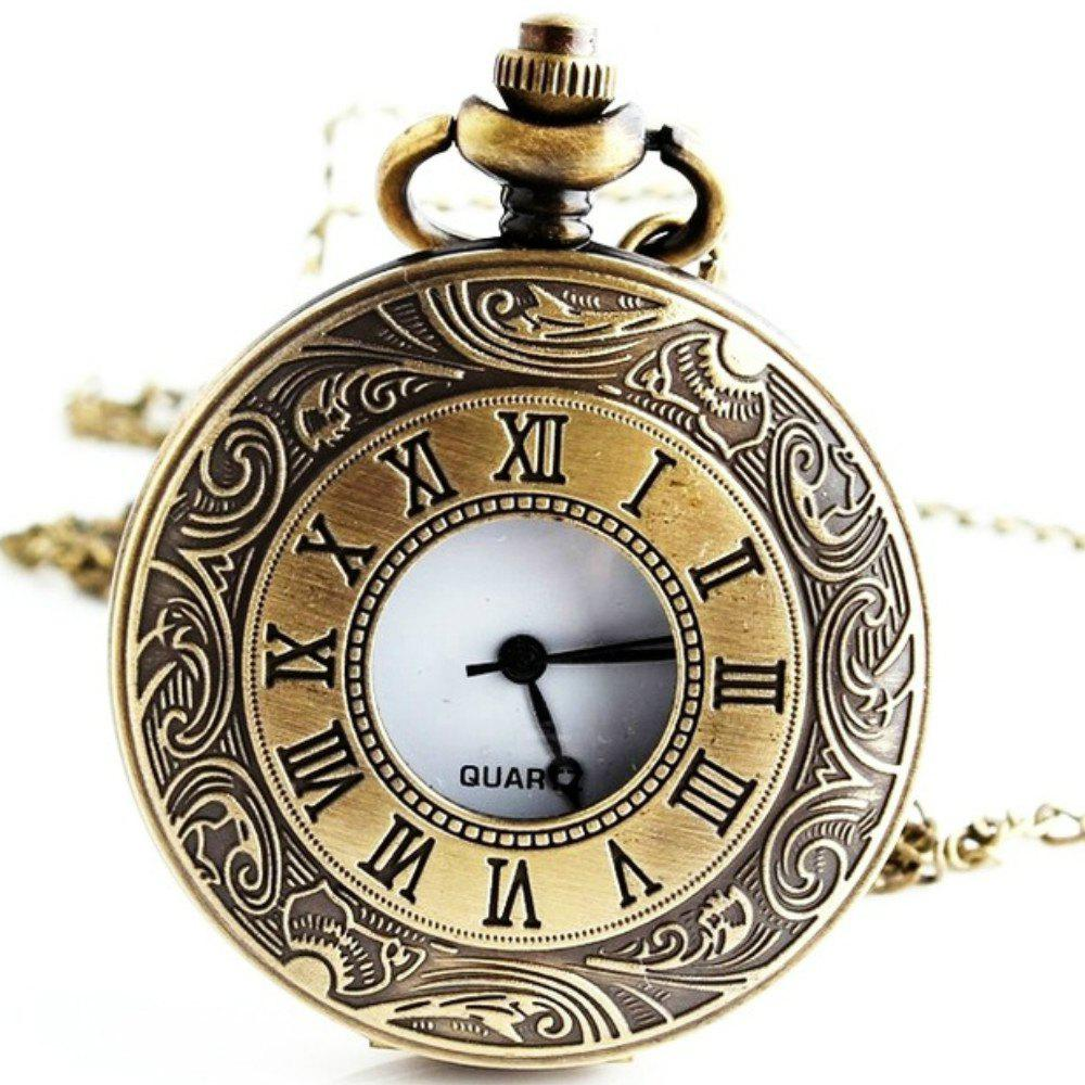 REEBONZ Steampunk Vintage Hollow Quartz Pocket Watch Pendant - COPPER COLOR