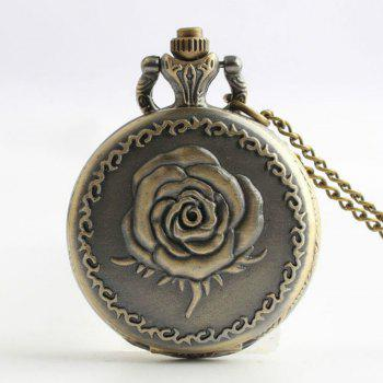 Steampunk Vintage Bronze Rose Quartz Pocket Watch Necklace Pendant - COPPER COLOR COPPER COLOR