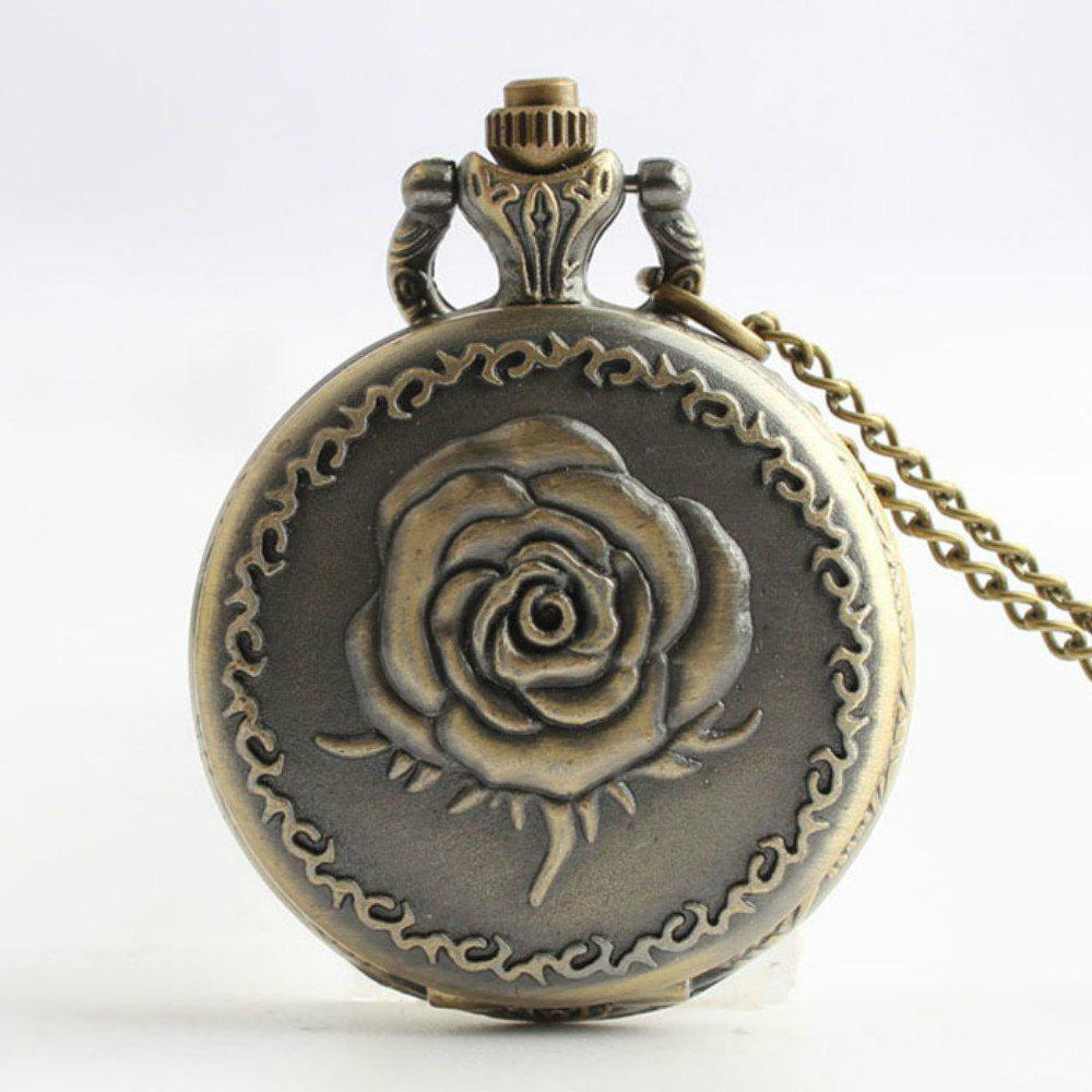 Steampunk Vintage Bronze Rose Quartz Pocket Watch Necklace Pendant antique retro bronze car truck pattern quartz pocket watch necklace pendant gift with chain for men and women gift