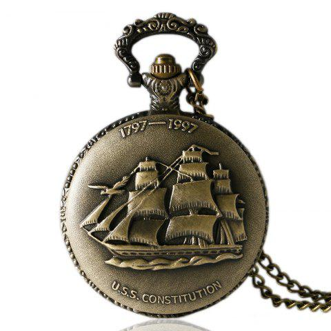 REEBONZ Steampunk Vintage Bronze Sailing Boat Quartz Pocket Watch Necklace Pendant - COPPER COLOR