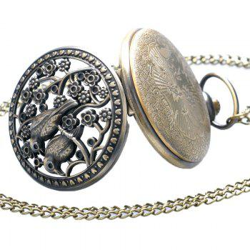 REEBONZ Steampunk Vintage Hollow Brid Quartz Pocket Watch Necklace Pendant - COPPER COLOR