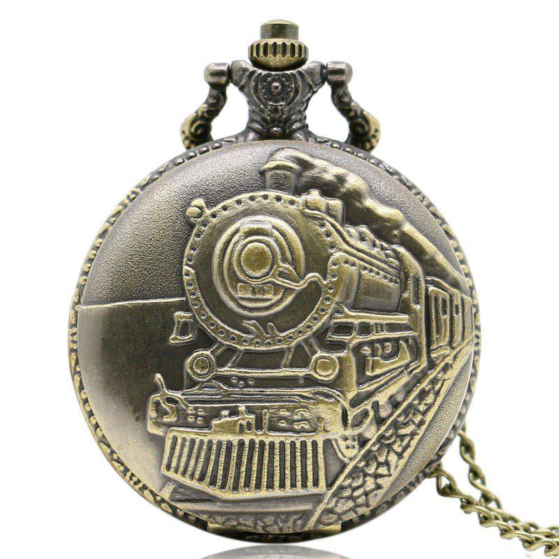 REEBONZ Steampunk Vintage Train Quartz Pocket Watch Necklace Pendant 4 design bronze vintage quartz pocket watch free mason sword art online gear necklace pendant chain womens mens gifts p1123