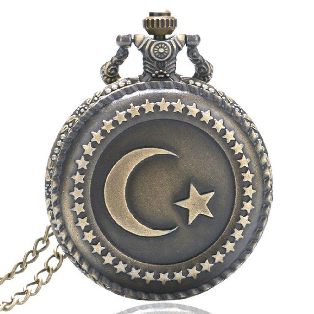 REEBONZ Steampunk Vintage Moon Star Quartz Pocket Watch Necklace Pendant new handsome fashion stripe black gray coat pants uncle 1 3 1 4 boy sd10 girl bjd doll sd msd clothes