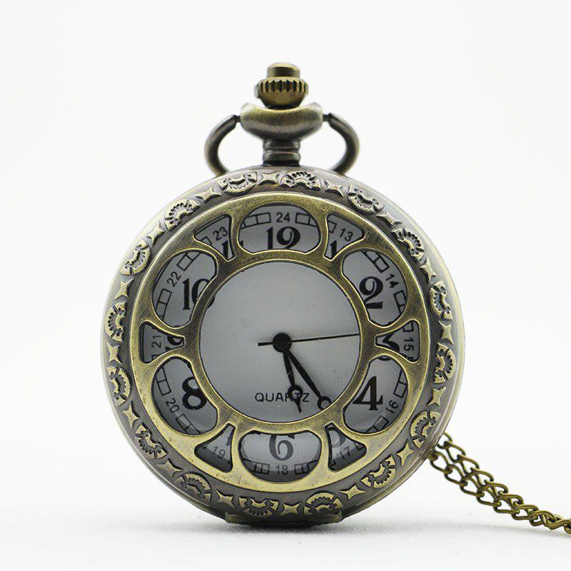 REEBONZ Steampunk Vintage Flower Hollow Quartz Pocket Watch Necklace Pendant - COPPER COLOR