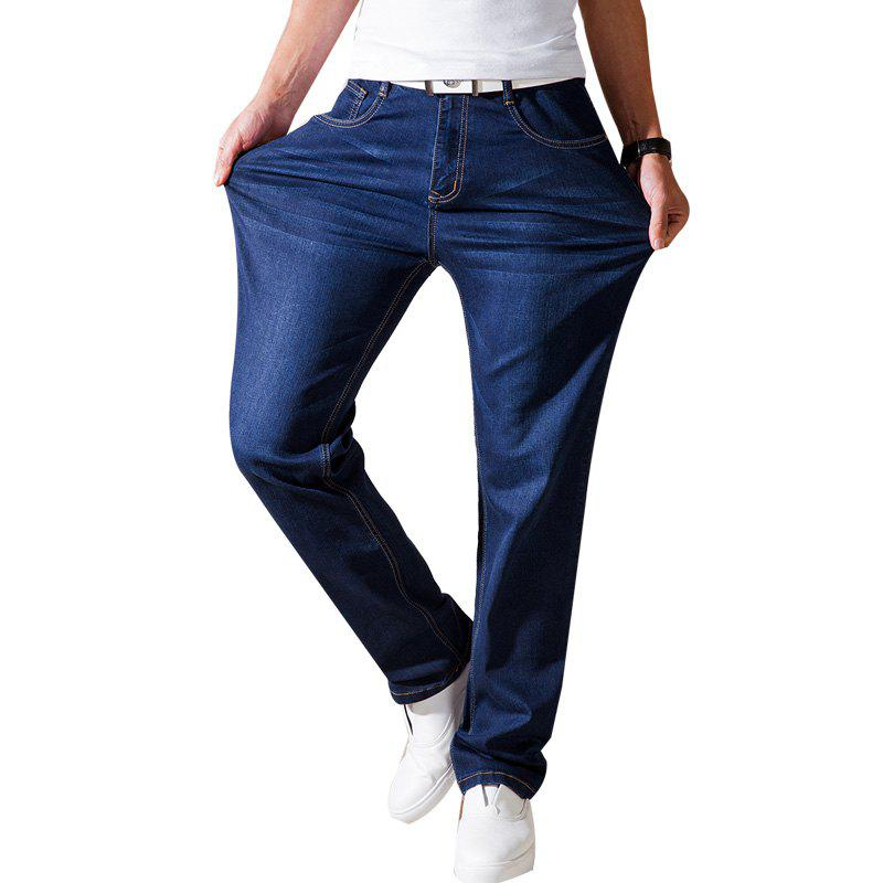 Straight Fit Denim Pants Pantalons taille plus Casual Cowboys Man Jeans - Bleu 30