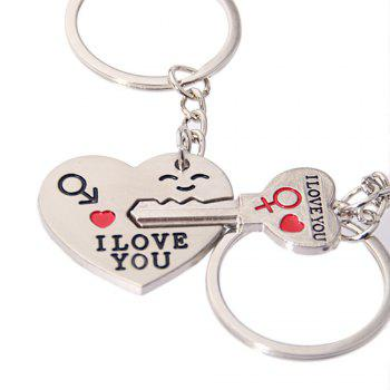 Heart & Key Couple Key Chain Ring Keyring Keyfob Lover Gift Valentine's Day - SILVER PACK OF 1