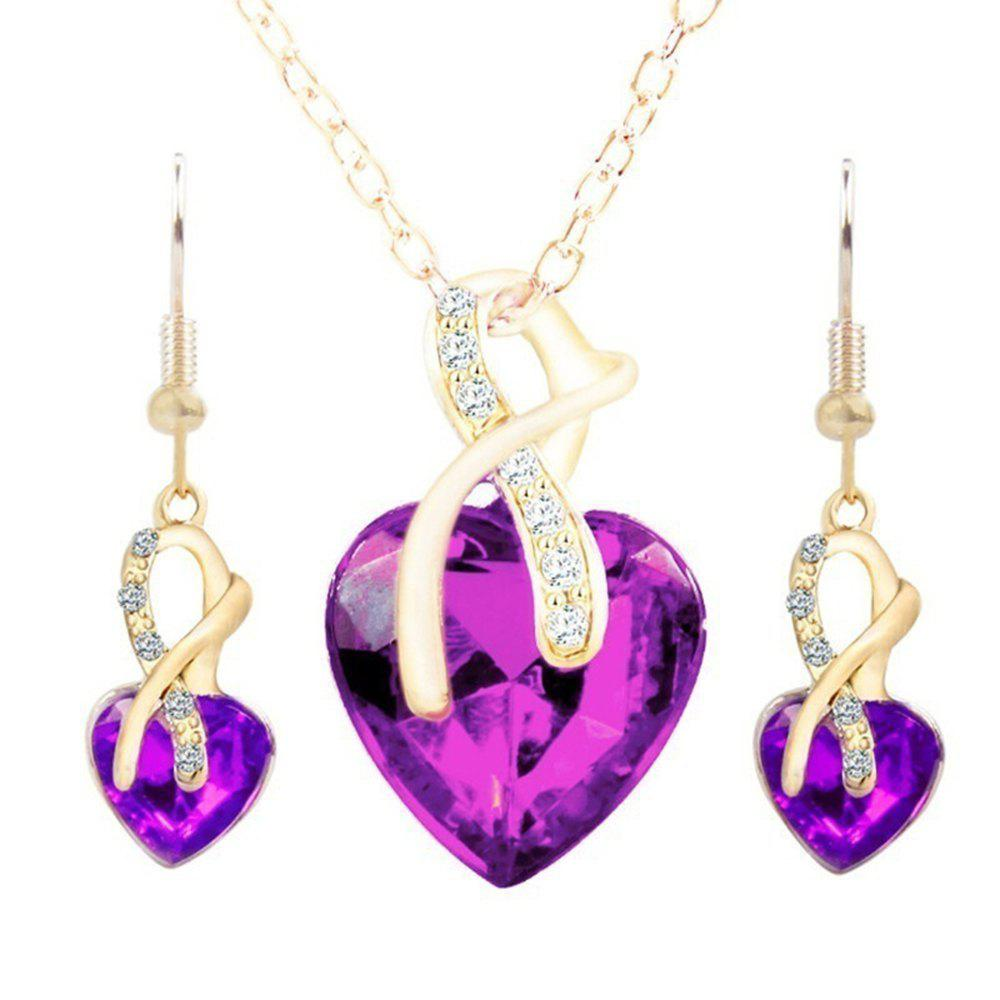 wedding jewelry Gold Plated Jewelry Sets For Women Crystal Heart Necklace Earrings Jewellery Wedding Accessories crystal heart to heart 18k white gold plated necklace