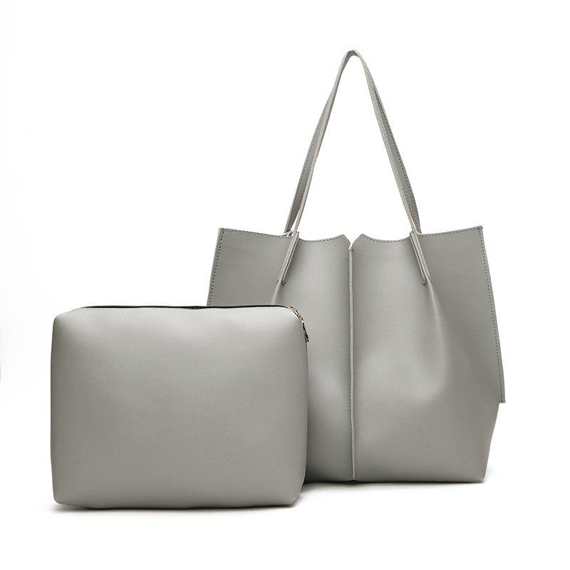 Female High-Capacity Tote Bag Hand Shoulder Bag Simple Wild Child Package - GRAY