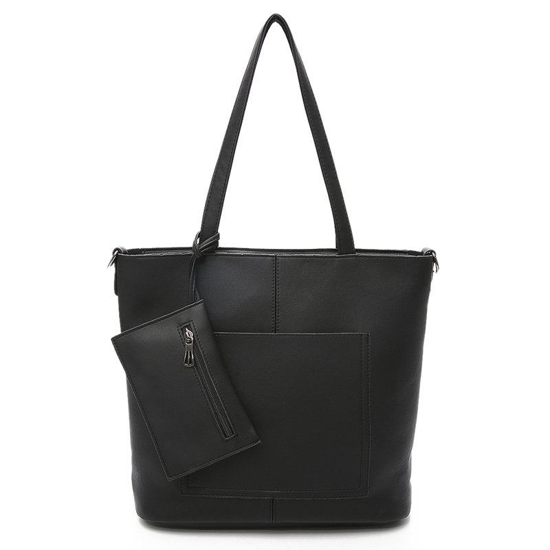 Simple Shoulder Bag Large Capacity Tote Handbag - BLACK