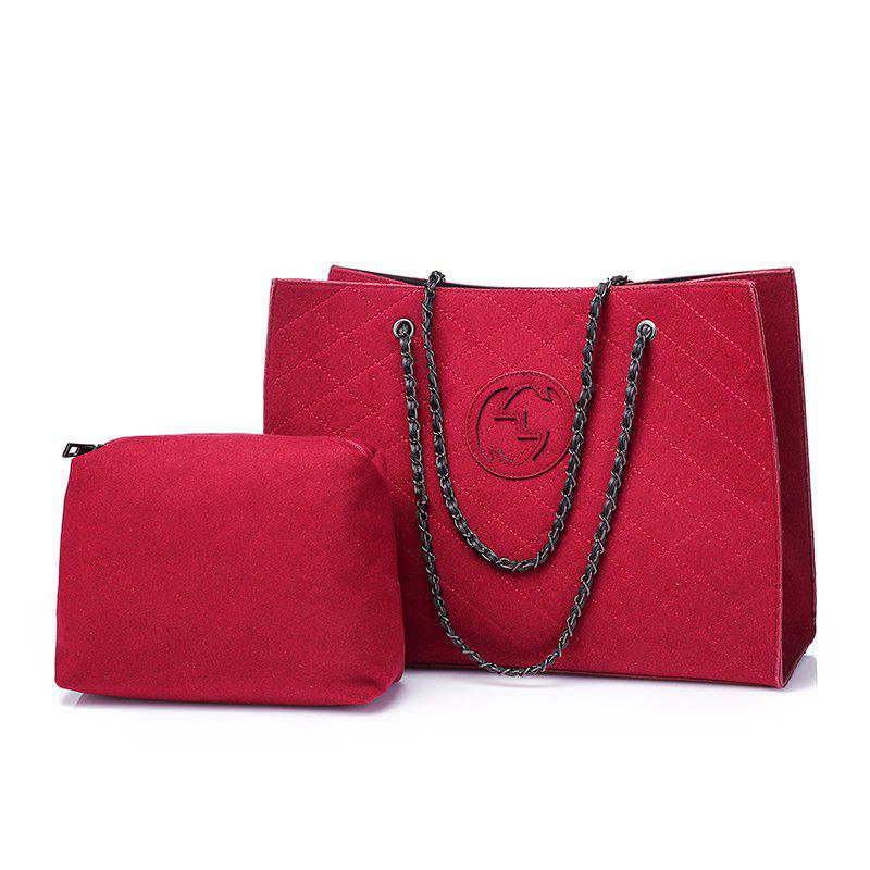 Small Fragrance Chain Diamond Bag Shopping Bag Large-Capacity Shoulder Bag - RED