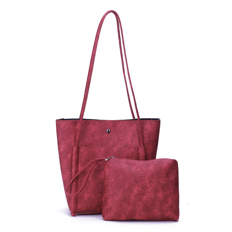 Minimalist Tutu Retro Female Bulk Shoulder Bag Large Capacity Bucket Bag - RED