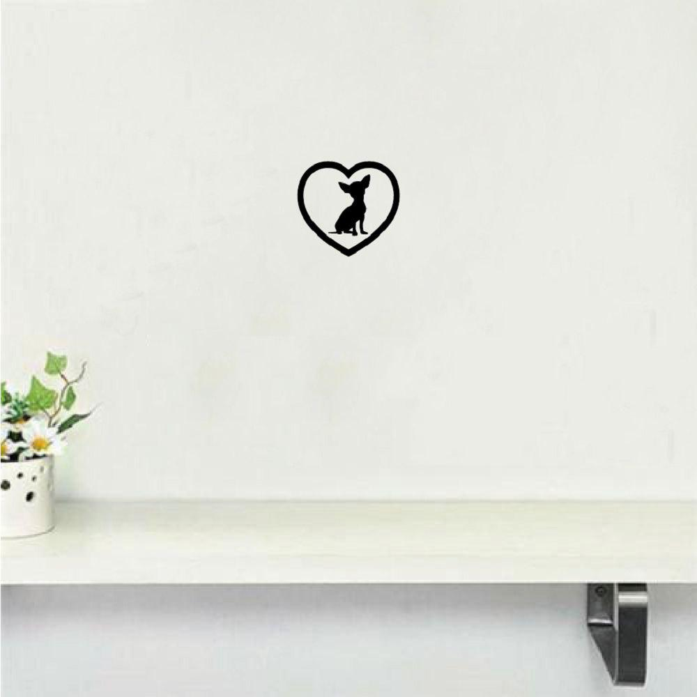 DSU Cute Chihuahua Heart Dog Wall Sticker Creative Cartoon Animal Vinyl Wall Decal dsu details about happy girls wall sticker vinyl decal home room decor quote