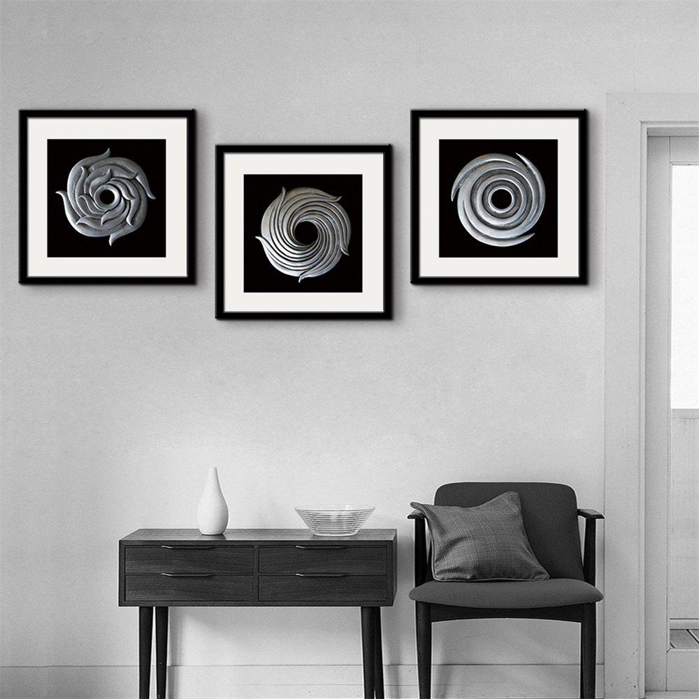 2018 Special Design Frame Paintings Circular Thread Print 3PCS WHITE ...