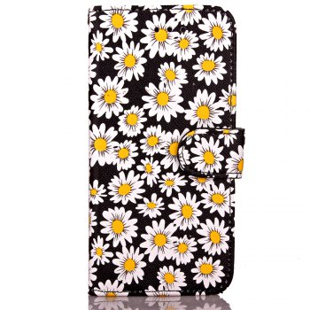 Chrysanthemum Painting Card Lanyard Pu Leather Cover for iPhone 6 plus - BLACK BLACK