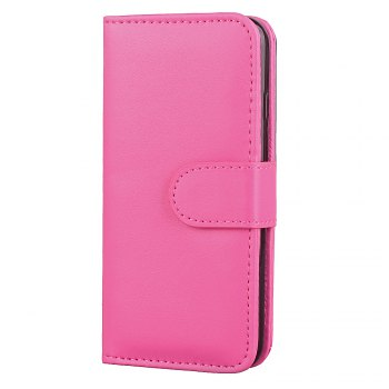 One Hundred Lines Card Lanyard Pu Leather Cover for iPhone 7 plus - ROSE RED