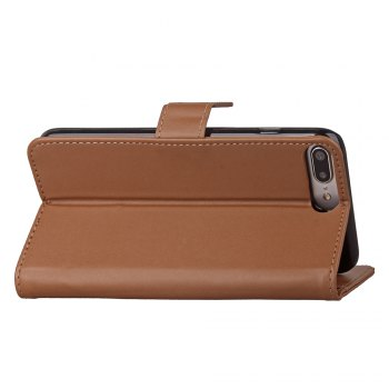 One Hundred Lines Card Lanyard Pu Leather Cover for iPhone 7 plus - BROWN