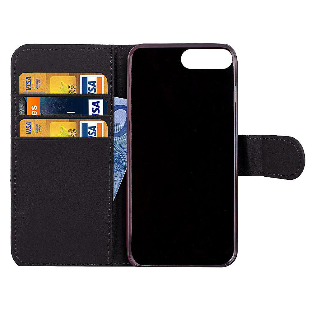 One Hundred Lines Card Lanyard Pu Leather Cover for iPhone 7 plus - BLACK