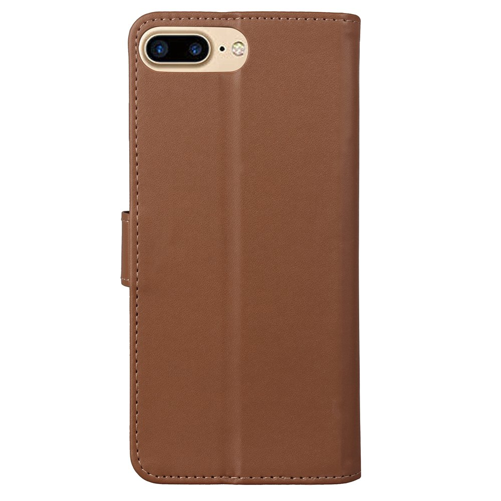 One Hundred Lines Card Lanyard Pu Leather Cover for iPhone 8 plus - BROWN