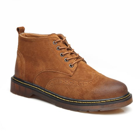 Men's Genuine Leather Boots - YELLOW BROWN 38