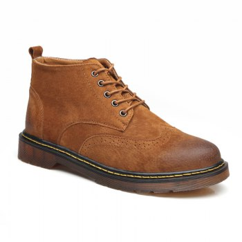 Men's Genuine Leather Boots - YELLOW-BROWN YELLOW BROWN