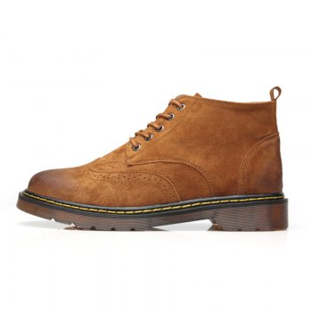 Men's Genuine Leather Boots - YELLOW BROWN YELLOW BROWN