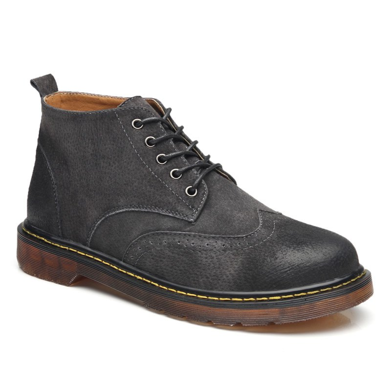 Men's Genuine Leather Boots - DEEP GRAY 38