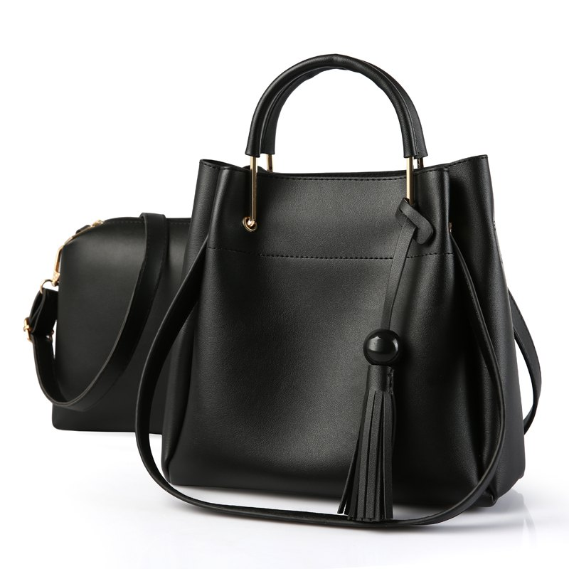2 Pcs Women's Bags Set OL Style All Match Trendy Versatile Bag - BLACK
