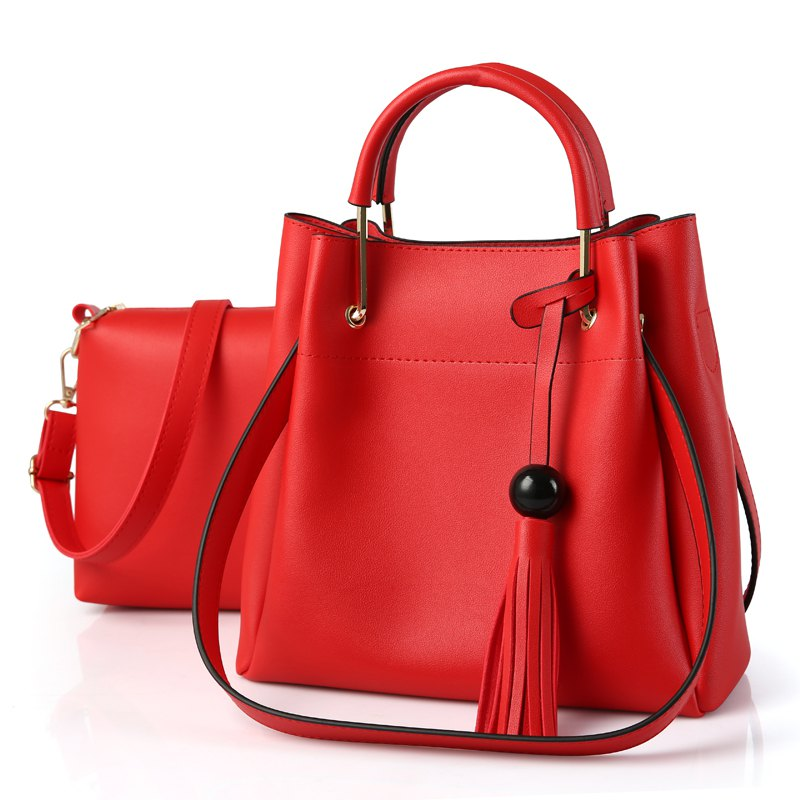 2 Pcs Women's Bags Set OL Style All Match Trendy Versatile Bag - WINE RED