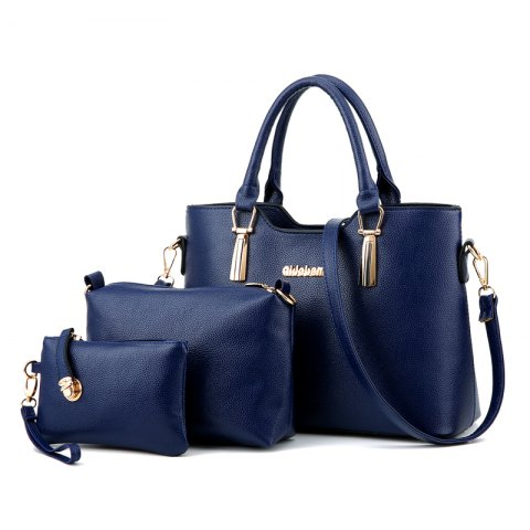 3Pcs Women's Bag Set Solid Elegant Casual All Match PU Bag Set - DEEP BLUE