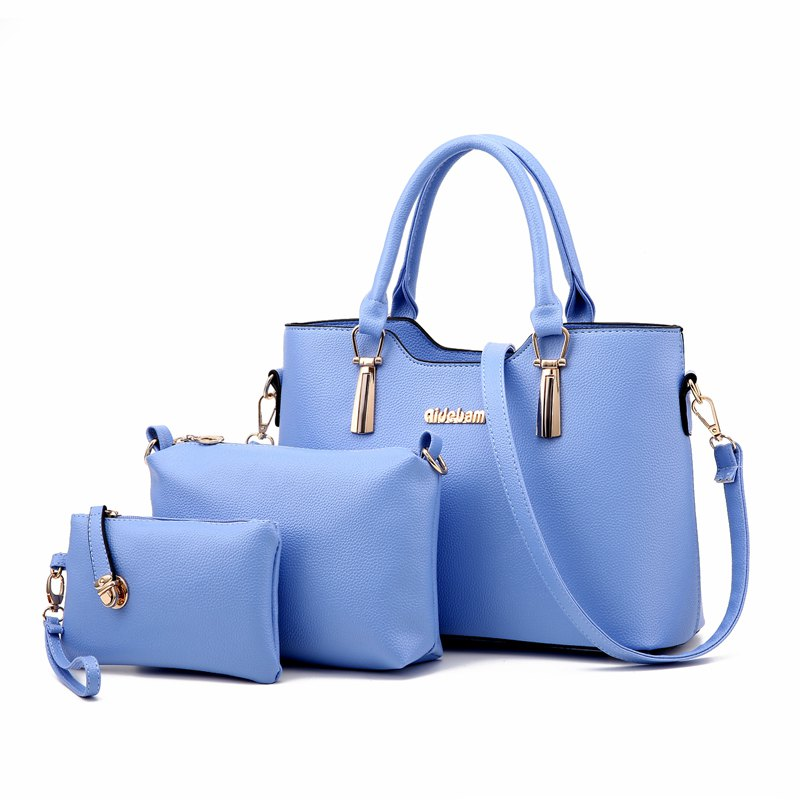 3Pcs Women's Bag Set Solid Elegant Casual All Match PU Bag Set - LIGHT BLUE
