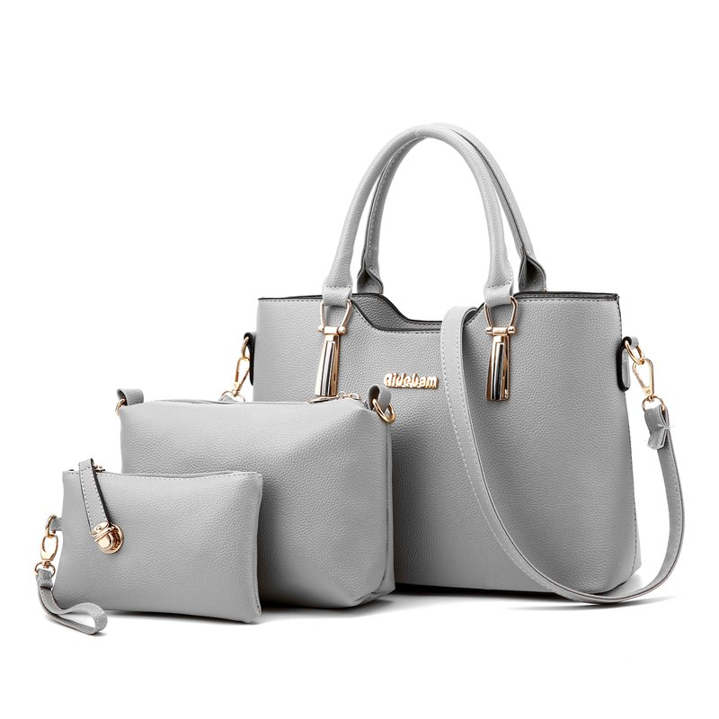3Pcs Women's Bag Set Solid Elegant Casual All Match PU Bag Set - GRAY