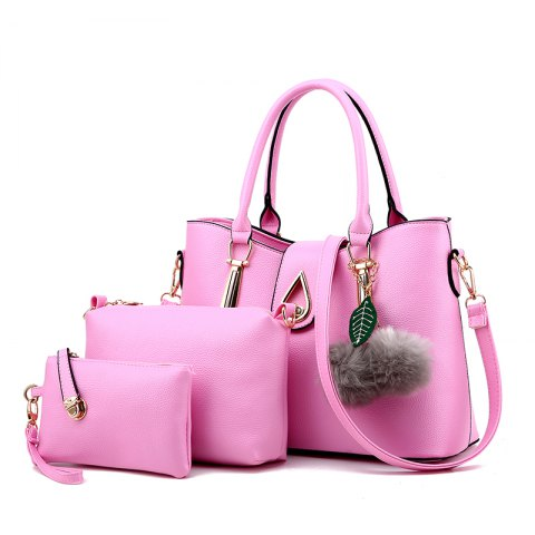 3Pcs Women's Bag Set Solid Quality Versatile Fur Ball Pendant Value Set - PINK