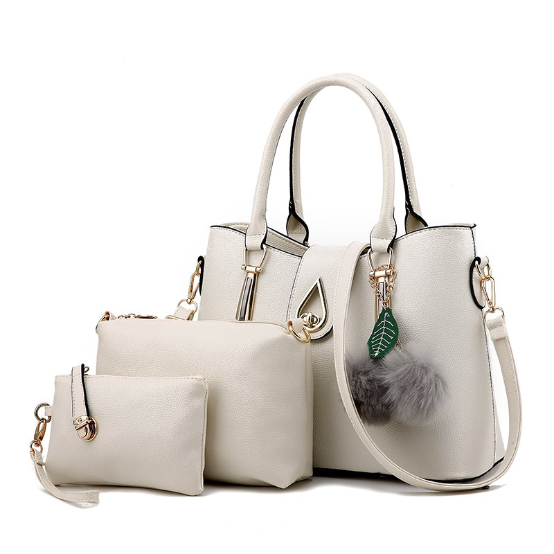 3Pcs Women's Bag Set Solid Quality Versatile Fur Ball Pendant Value Set - WHITE