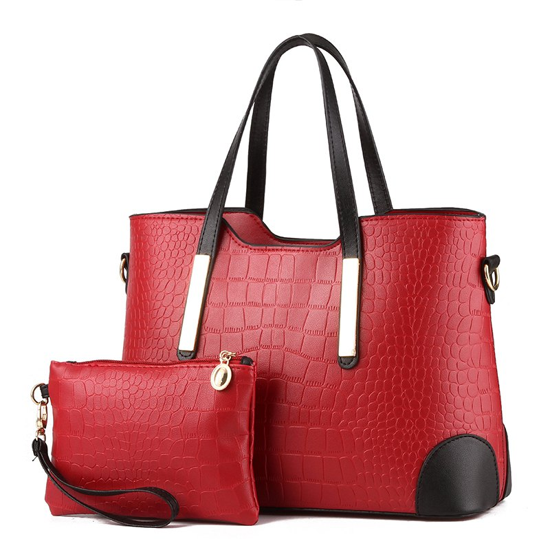 2 Pcs Women's Handbag Set Trendy Mixed Color Fresh Bags Set - WINE RED