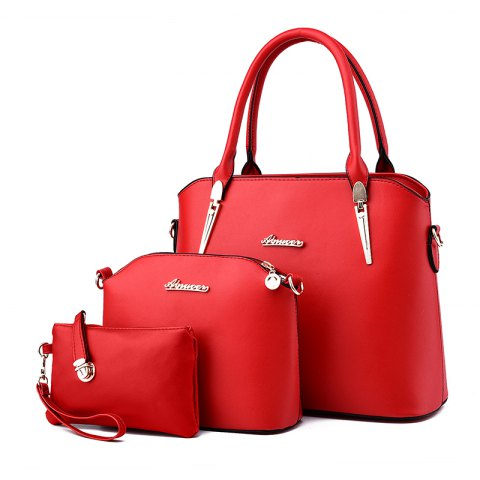 3 Pcs Women's Handbag Set Elegant Simple Style Solid Color Bags Set - RED