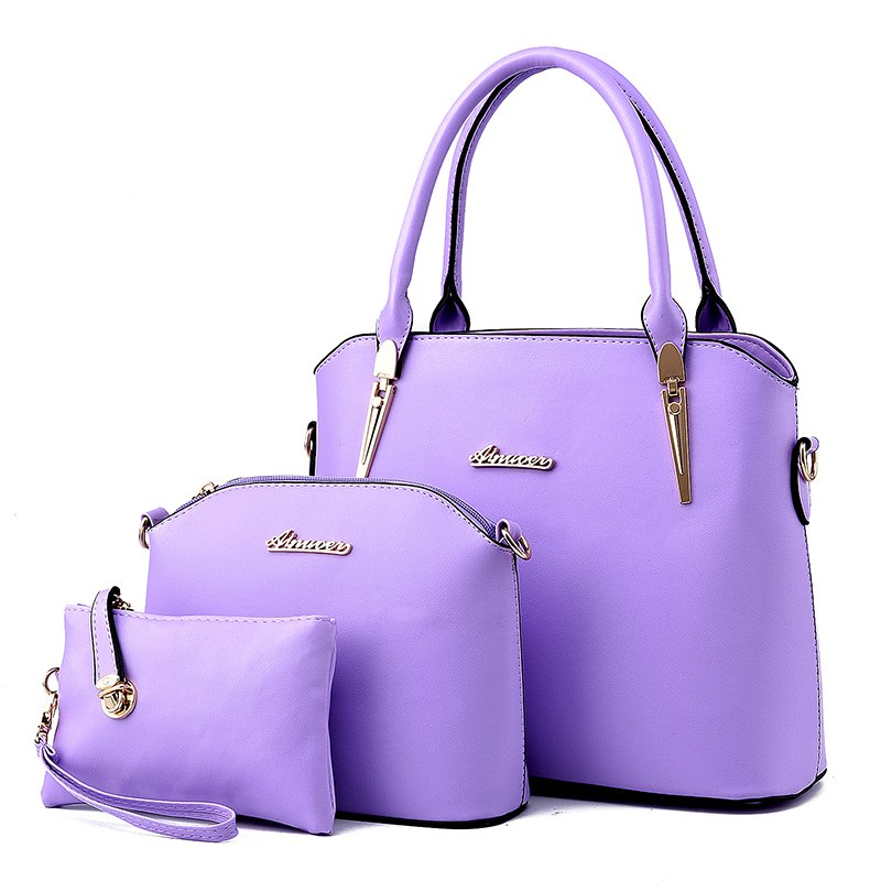 3 Pcs Women's Handbag Set Elegant Simple Style Solid Color Bags Set - PURPLE