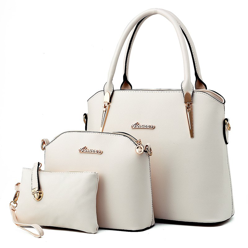3 Pcs Women's Handbag Set Elegant Simple Style Solid Color Bags Set - WHITE