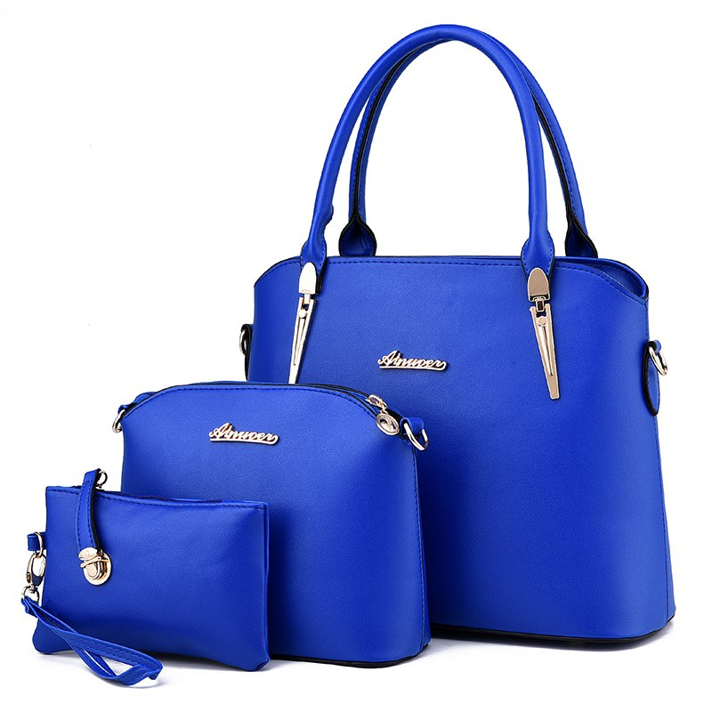3 Pcs Women's Handbag Set Elegant Simple Style Solid Color Bags Set - BLUE