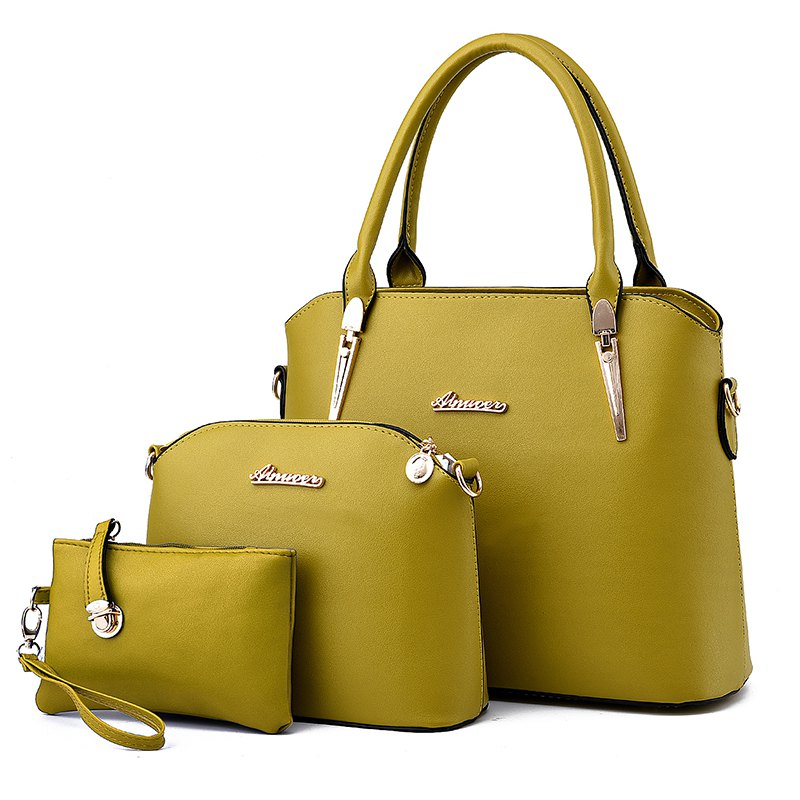 3 Pcs Women's Handbag Set Elegant Simple Style Solid Color Bags Set - YELLOW