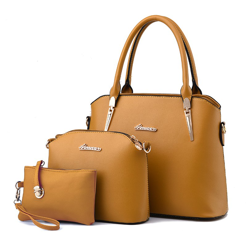 3 Pcs Women's Handbag Set Elegant Simple Style Solid Color Bags Set - KHAKI