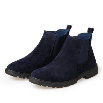 Men British Leisure Fashion Outdoor Shoes Warm Winter Boots - BLUE BLUE