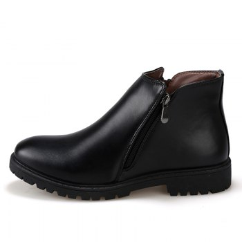 Men Leather Shoes Fashion Leisure British outdoor Boots - BLACK 40