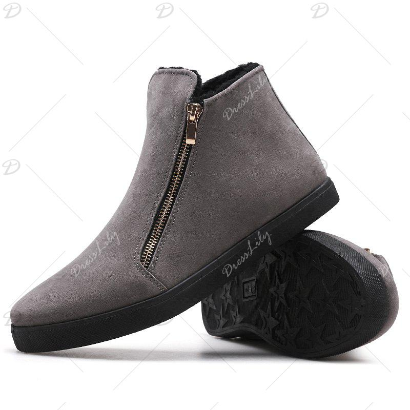 Men Outdoor Fashion Warm Winter Snow Boots Zip Shoes - GRAY 40