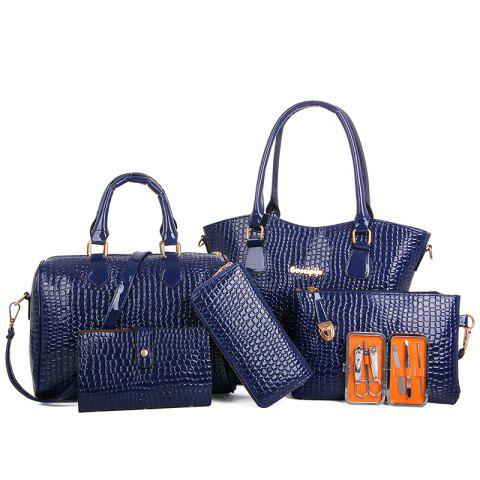 Six Pieces Fashion Stone Grain with Nail Box Package Bags - BLUE