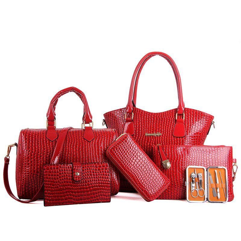 Six Pieces Fashion Stone Grain with Nail Box Package Bags - RED