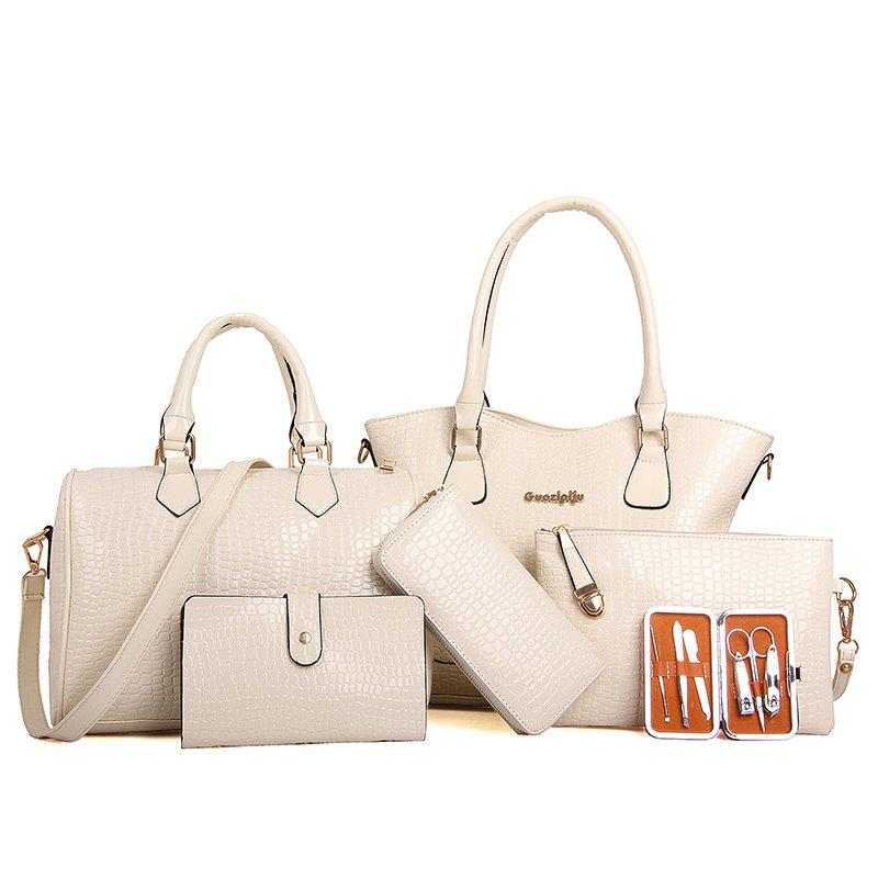 Six Pieces Fashion Stone Grain with Nail Box Package Bags - WHITE