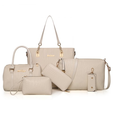 Six PiecesWeaving Grain Water Bucket Female Bag - WHITE