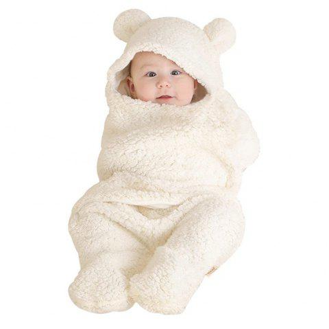 Baby Warm Comfortable Cartoon Envelope Swaddle Winter Wrap Blanket Unisex - WHITE ONE SIZE