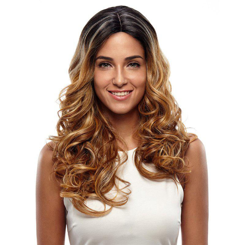 Synthetic Hair Skin Part Lace Front Wig Curly Long Curly Heat Resistant Fiber Ombre Color Wig For Women RC0666 - FLAX BROWN