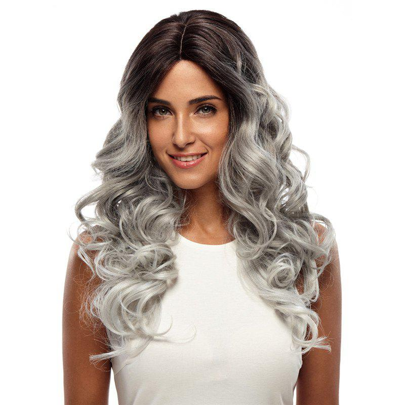 Synthetic Hair Skin Part Lace Front Wig Curly Long Curly Heat Resistant Fiber Ombre Color Wig For Women RC0666 - SILVER GRAY